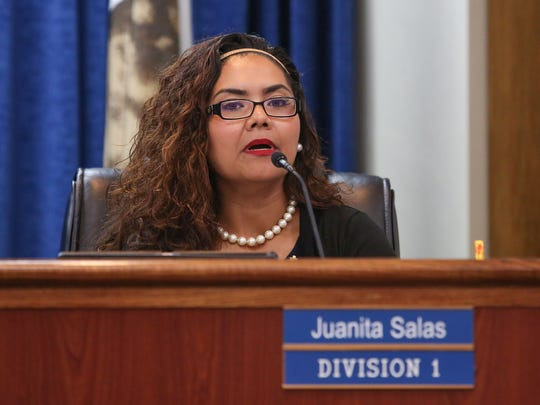 Imperial Irrigation District board member Juanita Salas, seen at a board of directors meeting on July 18, 2017.