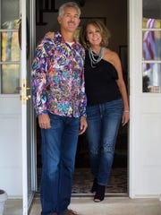 Linda Waugh wears Maguire cropped jeans; black Rebecca Taylor one shoulder ruffle sweater and Mark Fisher black suede and leather peep toe ankle boots. Ted Waugh wears Citizens of Humanity jeans; and a multi-colored button-down Robert Graham work of art, which many people usually refer to as a shirt.