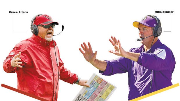 Cardinals coach Bruce Arians and Vikings coach Mike Zimmer are both straight shooters on similar paths.