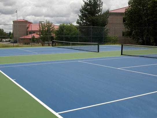 The refurbished tennis courts at Bremerton High School