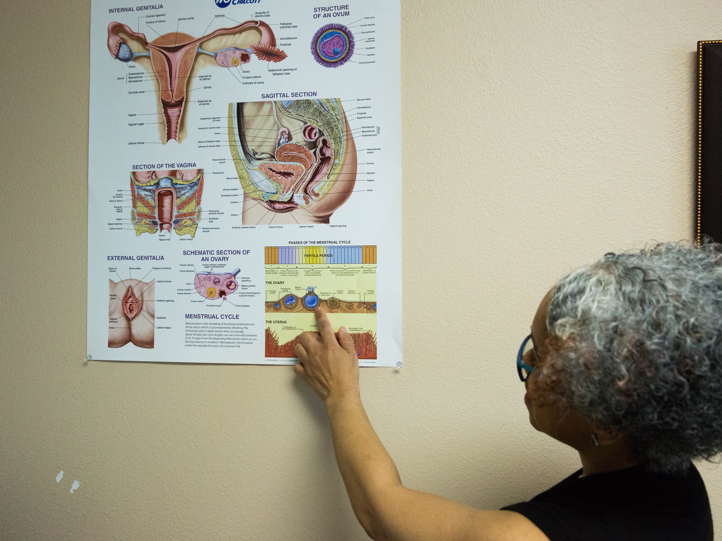Local OBGYN Dr. Darwana Ratleff points to a chart,