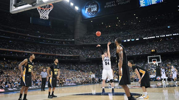 Butler Bulldogs forward Matt Howard sinks a free throw with 30.5 seconds left in the second half during the NCAA Final Four at Reliant Stadium in Houston on April 2, 2011. The Bulldogs won 70-62 over VCU.