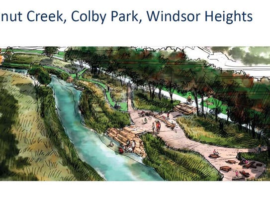 Proposed limestone steps down to Walnut Creek in Windsor