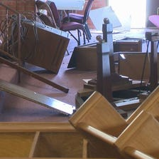 Everywhere you looked there was destruction after vandals took their time Sunday night.