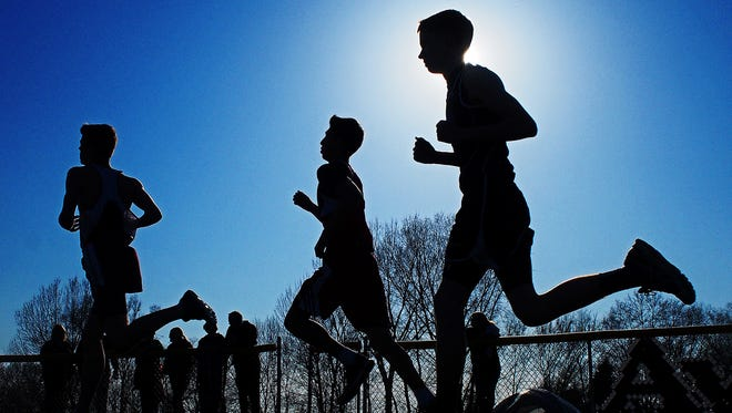 Runners take part in the boys 1600-meter run during the Canton Relays Tuesday, April 11, 2017, at Canton High School in Canton, S.D.