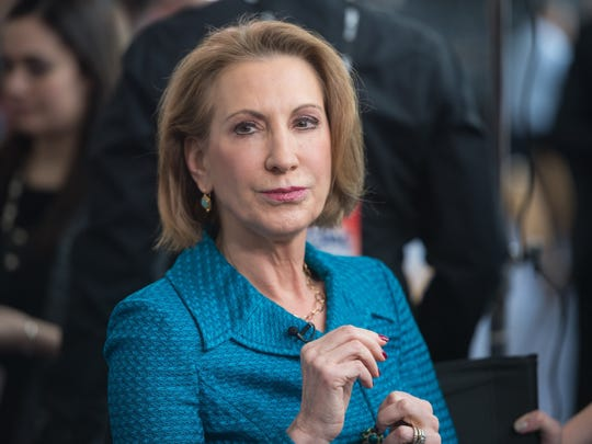 Carly Fiorina waits to be interviewed at the annual