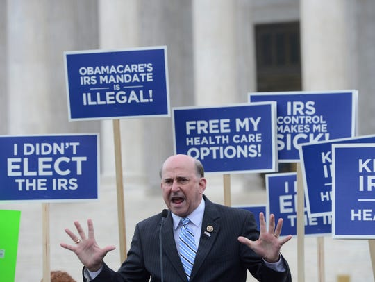 Rep. Louie Gohmert, R-Texas, speaks to opponents of