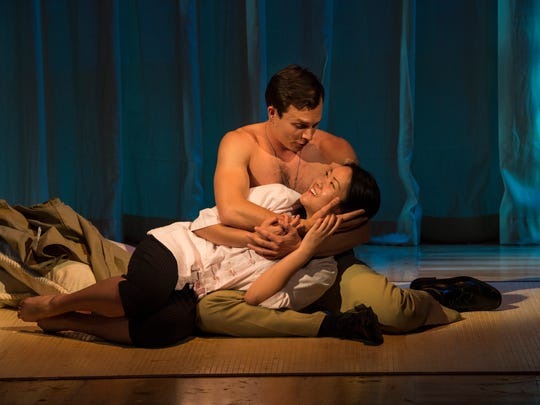 Nigel Huckle (top) is Lt. Joseph Cable and Samantha Ma is Liat in the Utah Shakespeare Festival's production of South Pacific.