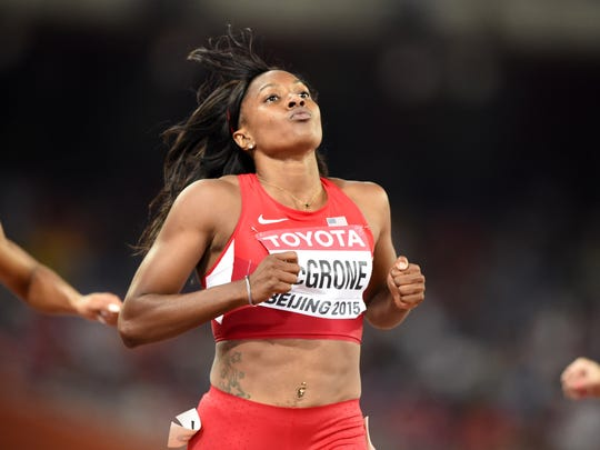 USA's Candyce McGrone competes in a heat of the women's 200 metres athletics event at the 2015 IAAF World Championships at the 'Bird's Nest' National Stadium in Beijing on August 26, 2015.