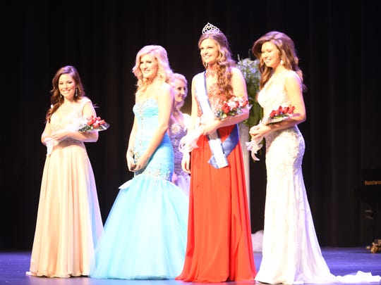 Winners in the Queen division joined on the Dunbar Auditorium stage Saturday during the 2015 fair pageant.