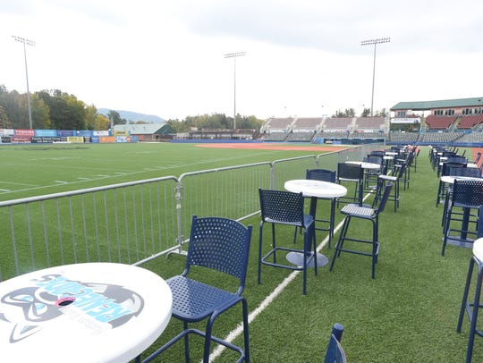 The view from the field passes seating area at Dutchess