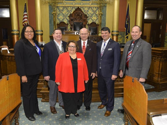 Rep. Dave Maturen (third from right) welcomed leaders of the Nottawaseppi Huron Band of the Potawatomi to the House floor in the Capitol. Also pictured, from left to right: Dorie Rios, Jamie Stuck, Christine Lanning, Homer A. Mandoka, Tony Day.