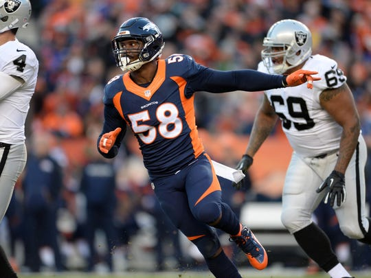 Denver Broncos outside linebacker Von Miller (58) during the third quarter against the Oakland Raiders at Sports Authority Field at Mile High.
