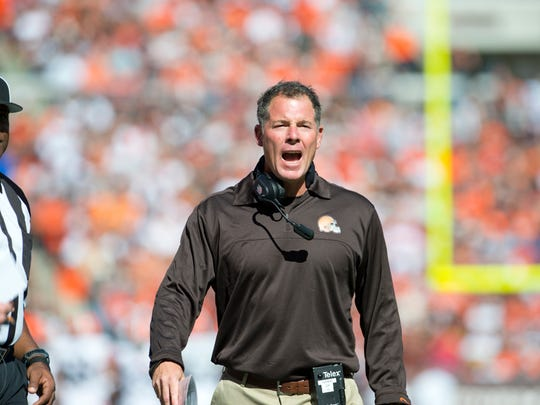 Pat Shurmur pictured in 2012 as the head coach of the Cleveland Browns.