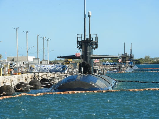 U.S. Navy fast-attack submarines, from left, U.S.S.