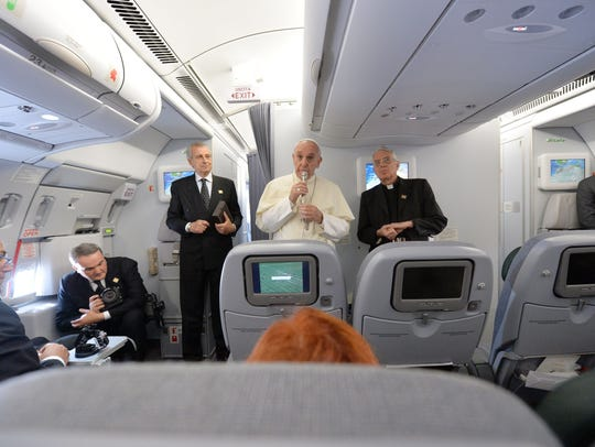 On the flight back to Italy from Brazil, Pope Francis