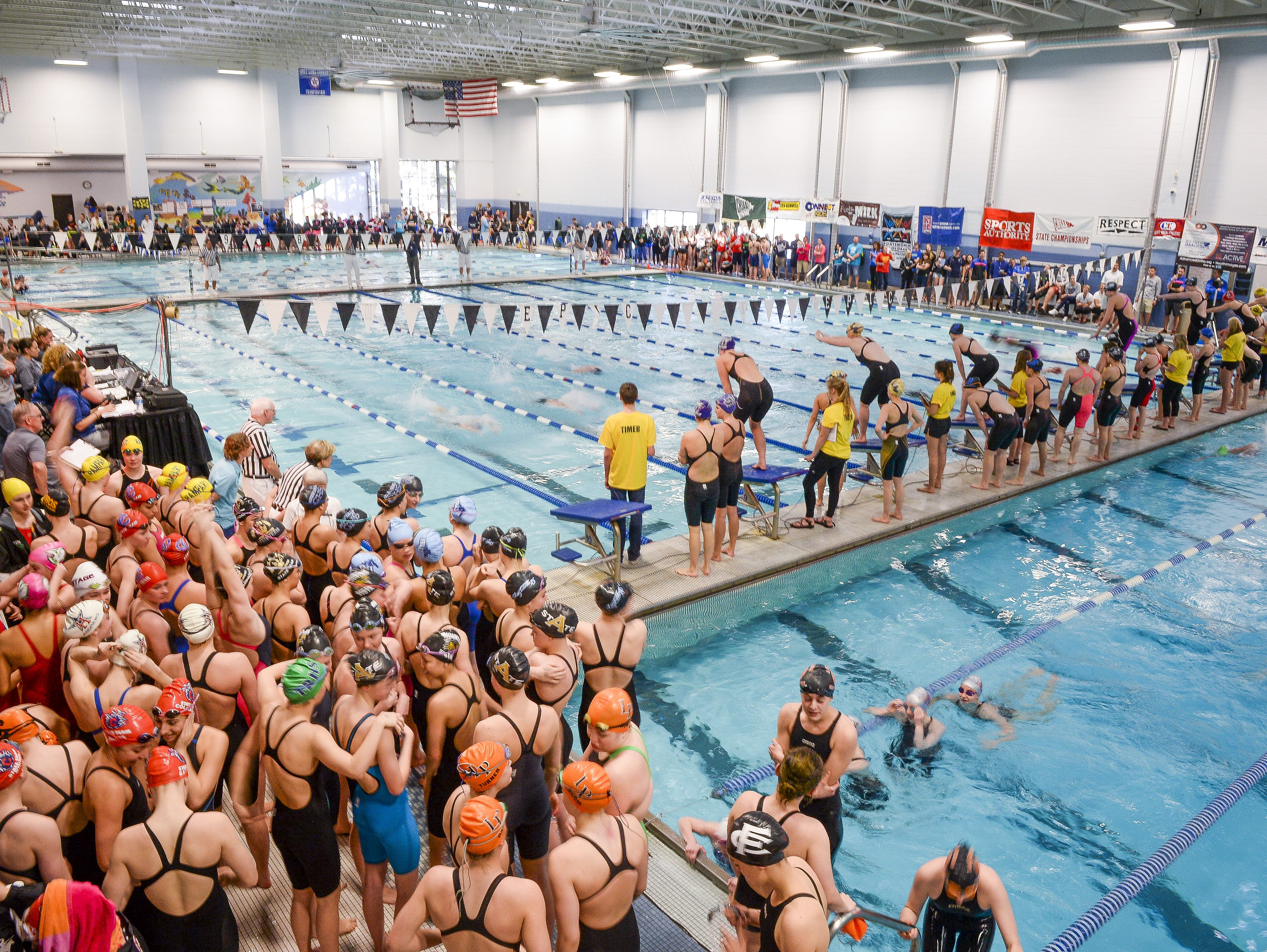 Edora Pool Ice Center is home to the Class 5A state girls swim meet. The 2015 state meet is pictured. EPIC is one of two public pools in Fort Collins that combine to host four high school teams, two clubs as well as public swimmers and City of Fort Collins recreation activities.