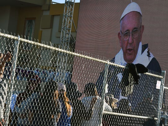 Pope Francis celebrates Mass at the Mexico-U.S. border in the Ciudad Juarez fairgrounds on Feb. 17, 2016.