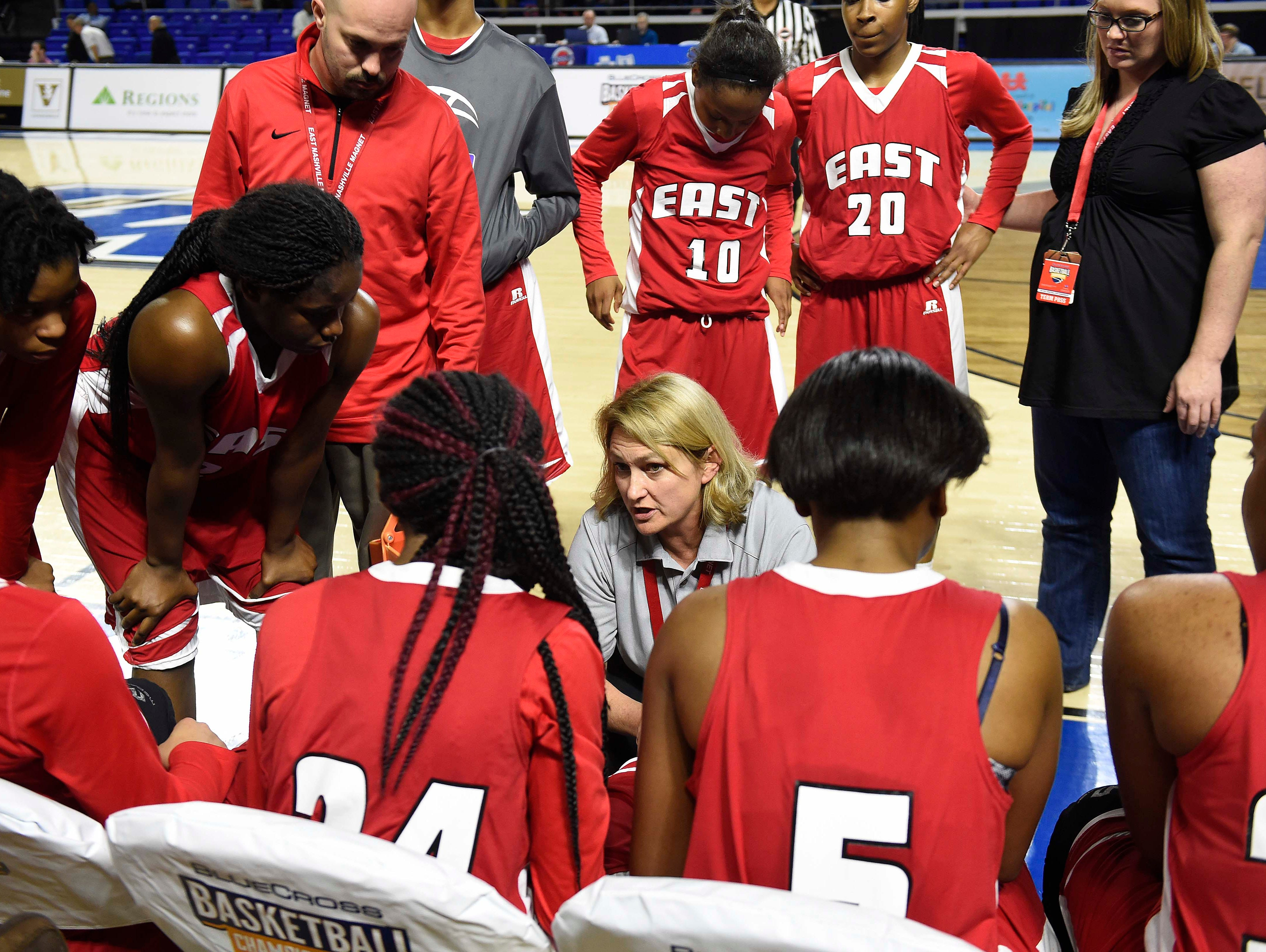 East Nashville coach Lois Donaldson talks to her team during a time out as they win over Westview High School 35-32 in the Division I Class AA Girl's basketball semi-finals at the Murphy Center on MTSU's campus March 11, 2016 in Murfreesboro, Tenn.