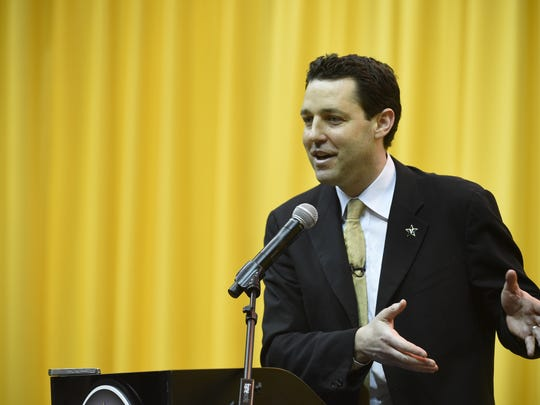 Bryce Drew speaks after being introduced as Vanderbilt University men's basketball's new head coach on Wednesday, April 6, 2016 in Nashville, Tenn.