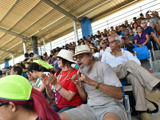 In this June 4, 2016, crowd members show their FestPac spirit during the 12th Festival of Pacific Arts Guam 2016 closing ceremony at Paseo Stadium.