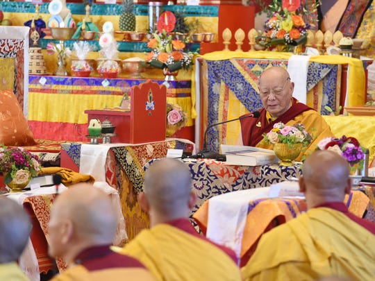 Khenpo Karthar Rinpoche offers his teachings to those in attendance at the Kagyu Thubten Choling Buddhist Monastery in Wappingers Falls on Wednesday.  Rinpoche is the abbot Karma Triyana Dharmachakra Monastery in Woodstock. This week marks the first Kagyu Monlam, which is a prayer ceremony for Buddhist clergy and lay people who join together to pray for world peace, at the Kagyu Thubten Choling Buddhist Monastery.