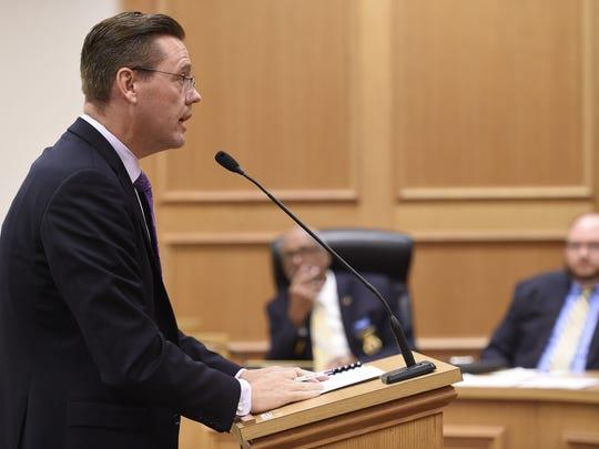 Legislative attorney Doug Himes speaks at a special