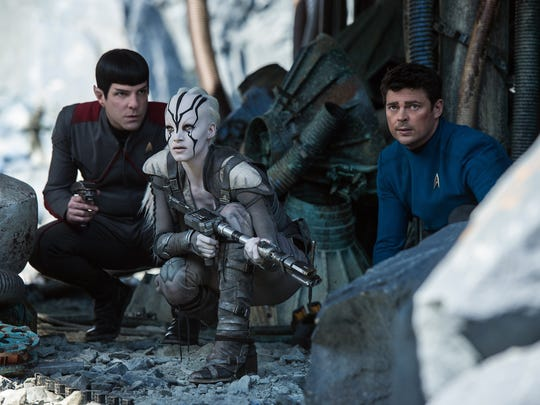 """Zachary Quinto (from left), Sofia Boutella and Karl Urban star in """"Star Trek Beyond."""""""
