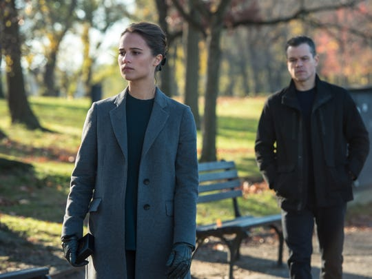 "Alicia Vikander and Matt Damon star in ""Jason Bourne."""