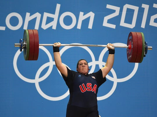US athlete Sarah Robles competes during the women's 75+kg group A weightlifting event of the London 2012 Olympic Games at The Excel Centre in London on August 5, 2012.