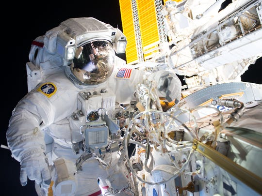 On Aug. 19, Expedition 48 Commander Jeff Williams (shown) and Flight Engineer Kate Rubins of NASA successfully installed the first of two international docking adapters to the International Space Station during a five-hour and 58-minute spacewalk.