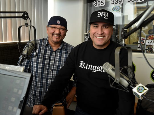 "Jaime ""Rico"" Rangel (left) and Daniel ""Mambo"" Herrejon, of the ""Rico and Mambo Morning Show"" on radio station Q95.9  FM, celebrate 20 years of working together on the air this month."