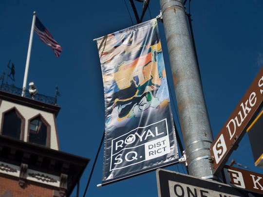 Royal Square flags on East King Street in York.