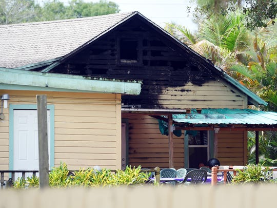 Damage to the Islamic Center of Fort Pierce can be