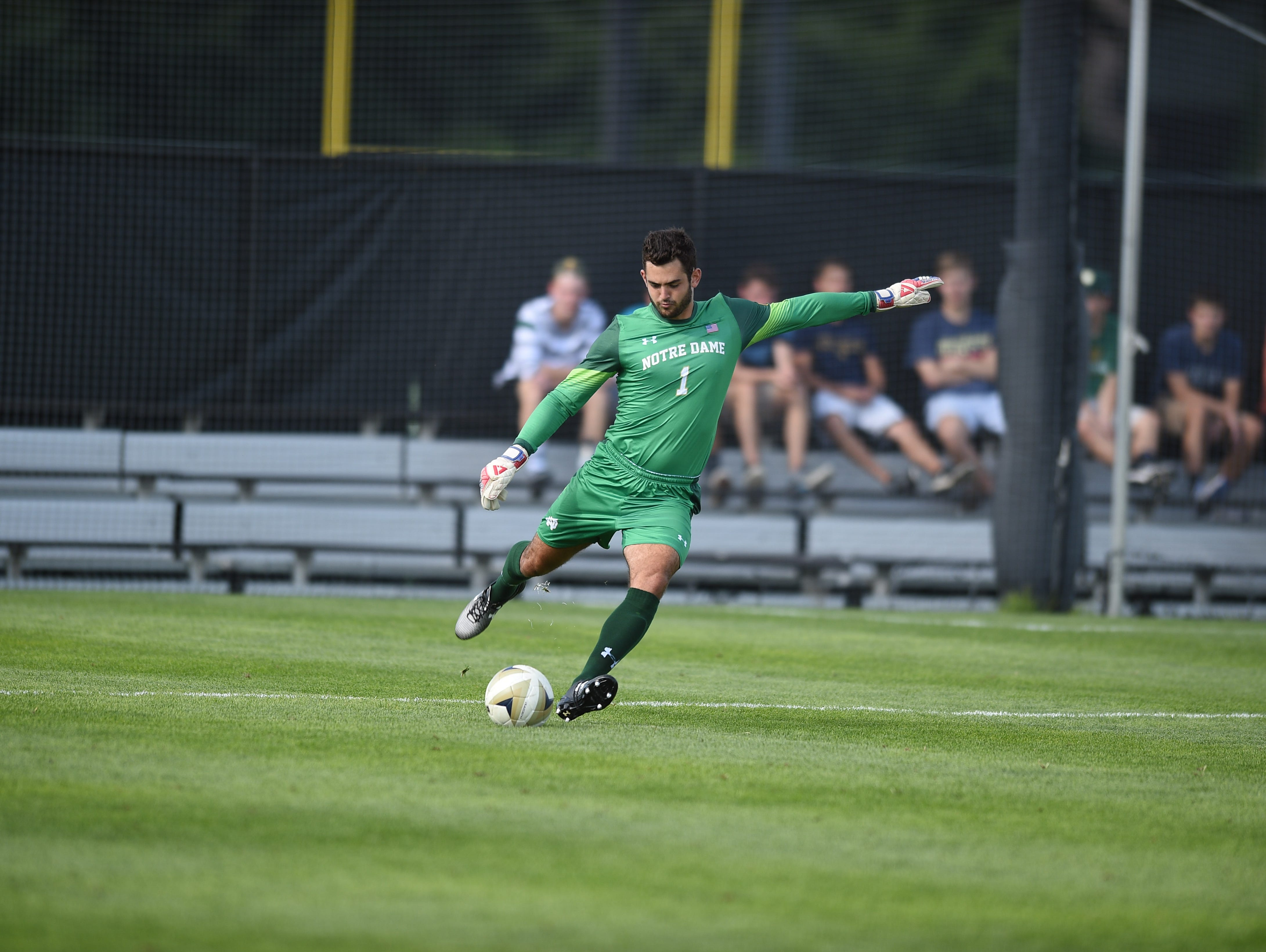 Top-ranked Notre Dame and its goalkeeper, Trinity graduate Chris Hubbard, visit Louisville on Friday.