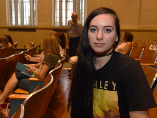 Elisabetta Campanella of Wappingers Falls at the Poughkeepsie Journal Media Heroin Forum at the Family Partnership Center on Wednesday.