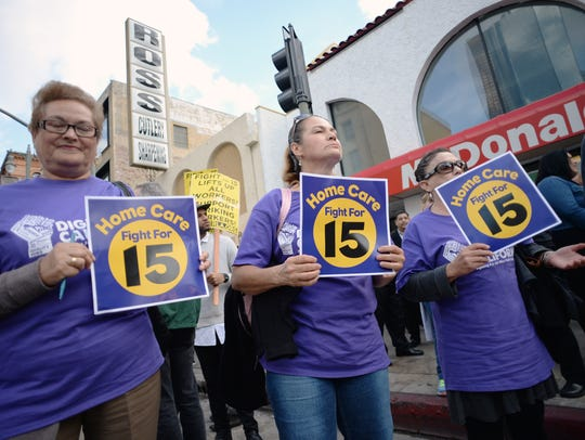 Home health care workers join fast-food workers for