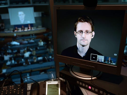 Edward Snowden speaks from Russia to the Council of Europe in Strasbourg, France, in 2015.