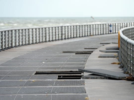 Of the 228 grates that make up the walkway of the north jetty at Sebastian Inlet State Park, about 40 of them were damaged during Hurricane Matthew.
