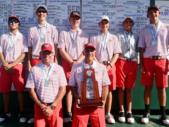 The Vero Beach High School boys golf team pose with their State Runner-Up trophy Wednesday, Oct. 26, 2016 at the Mission Resort and Spa. The finished with a combined two-day total of 623.