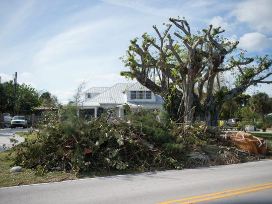 Vegetation debris from Hurricane Matthew is piled at the edge of a property on Indian River Drive on Oct. 25, 2016 in St. Lucie County. St. Lucie County officials said it could take 4 to 6 weeks before all the hurricane debris is collected.