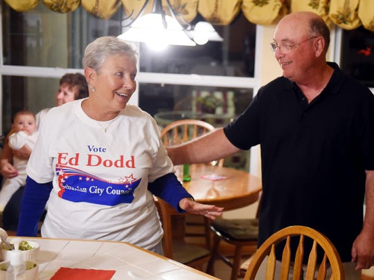 Ed Dodd is congratulated by JoAnn Brown after being elected to a two-year seat on the Sebastian City Council on Tuesday, Nov. 8, 2016. Unofficial results show Dodd won the seat with 4,722 votes.