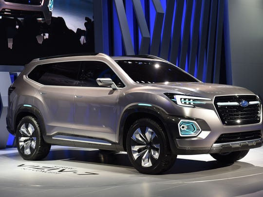 The Subaru VIZIV-7 SUV concept is unveiled at the Los