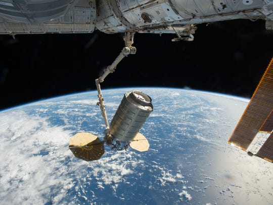 On Oct. 23, 2016, Orbital ATK's Cygnus cargo spacecraft, packed with more than 5,000 pounds of cargo, was captured using the Canadarm2 robotic arm on the International Space Station.