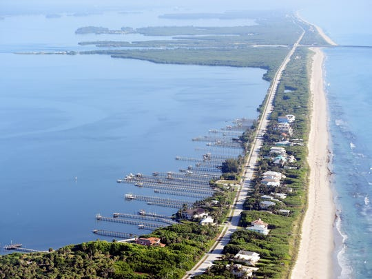 The Indian River Lagoon is seen from above in Indian