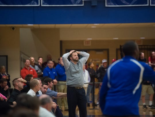 Dallastown head coach Mike Grassel reacts during play