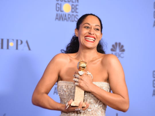 Tracee Ellis Ross poses with her trophy for best actress in a comedy series  for 'Black-ish.'