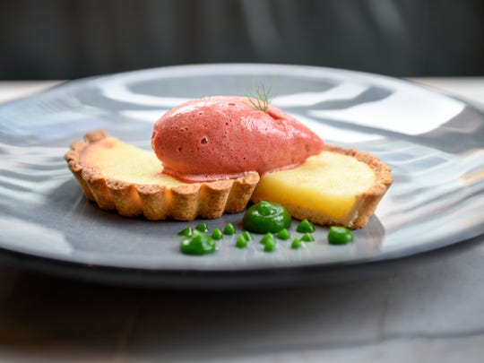 Chess tart with blood orange sorbet and  basil gelee