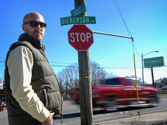 Jason Lenard of Superior Development stands along Dickerson