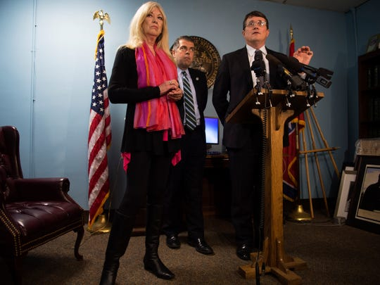 Rep. Mike Stewart speaks at a House Democratic Caucus press conference with Rep. Sherry Jones and Rep. Bo Mitchell at Legislative Plaza in Nashville, Tenn., Tuesday, Feb. 14, 2017.